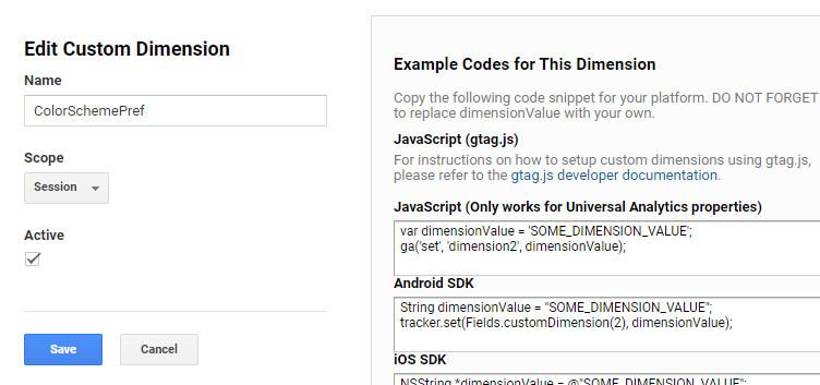 Google Analytics Dimension  - Color Scheme Pref