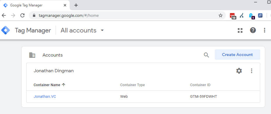 Google Tag Manager - Container