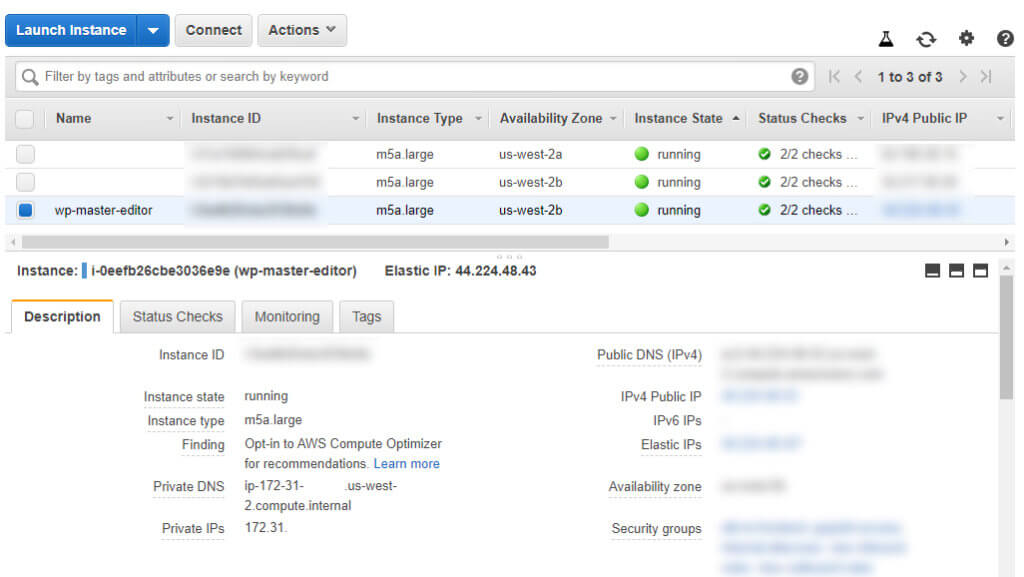AWS Console: Select an EC2 instance